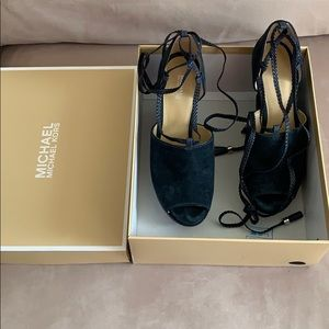 Michael Kors Navy suede wedge braided straps